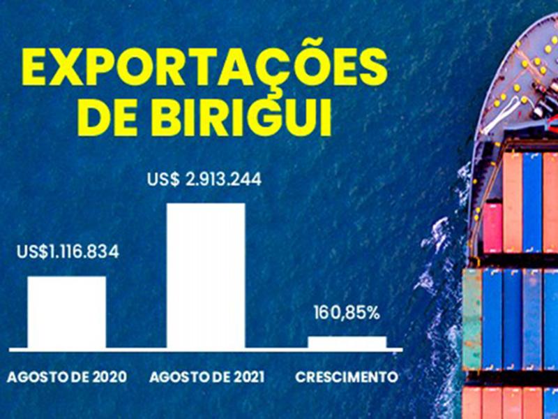 EXPORTAÇÕES DE PRODUTOS BIRIGUIENSES SOMARAM US$ 2,9 MILHÕES E ALCANÇARAM 23 PAÍSES