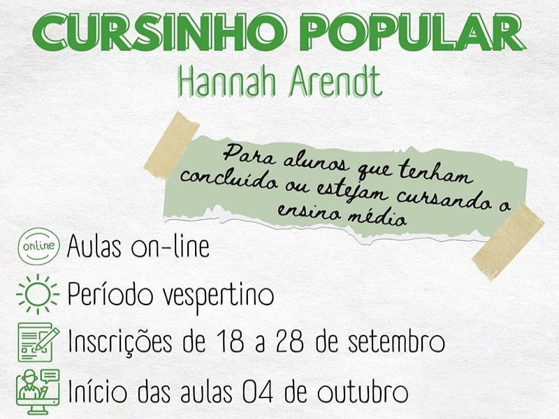 CURSINHO POPULAR HANNAH ARENDT